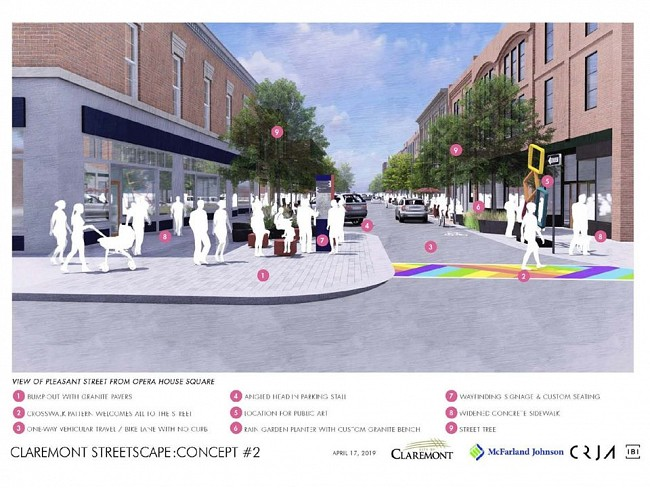 Concept #2 visualization of how Pleasant Street might look with wider sidewalks, angled parking and