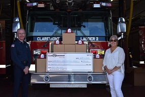 Ladder Company, Call Fire Lieutenant Kevin Early/ president of the Claremont Fire Fighters Association; Kim Bergeron, CIC, Business Insurance Division