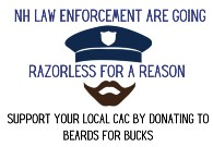 Razorless for a Reason logo (Police Officer with mustache and beard